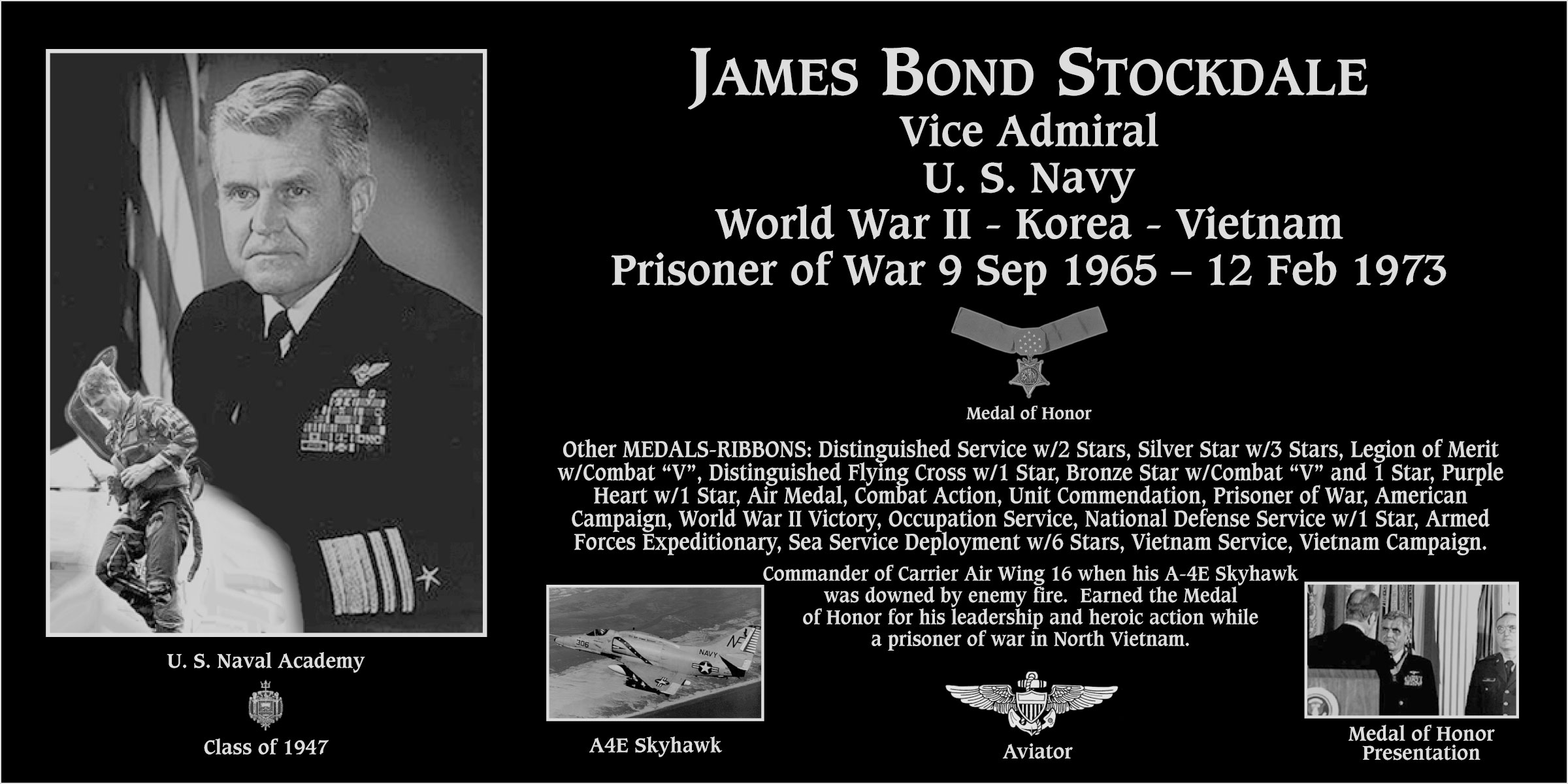 "James Bond ""Medal Of Honor Recipient"" Stockdale"