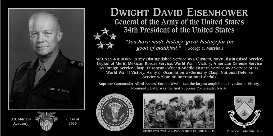 "Dwight D. ""34th President of the United States Of America"" Eisenhower"